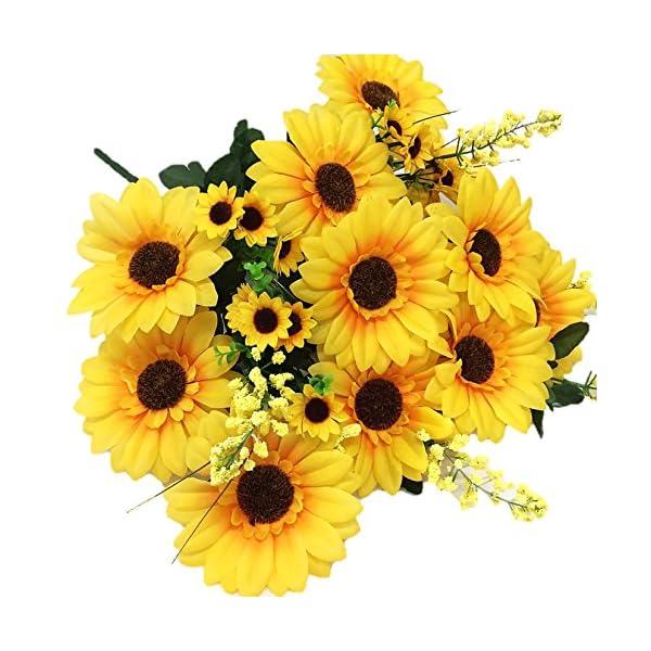 Silk Flower Garden Sunflower Bouquet 24 Heads 27″