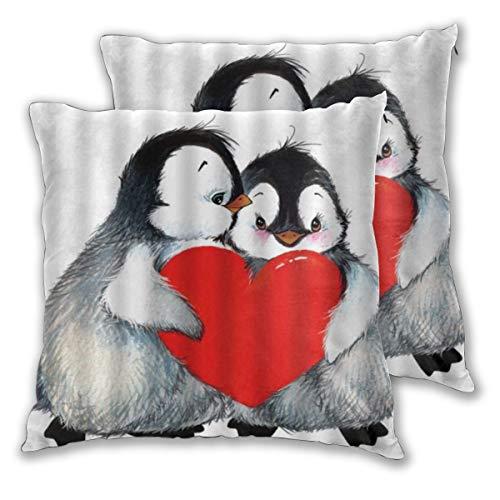 KASABULL 2 Pack Funda de Almohada Pingüino Romance Animales Estilo de Dibujo de Amantes de pingüinos Lindos con corazón Diseño de Humor Divertido Lino Suave Cuadrado Sofá Cama 60cm x 60cm