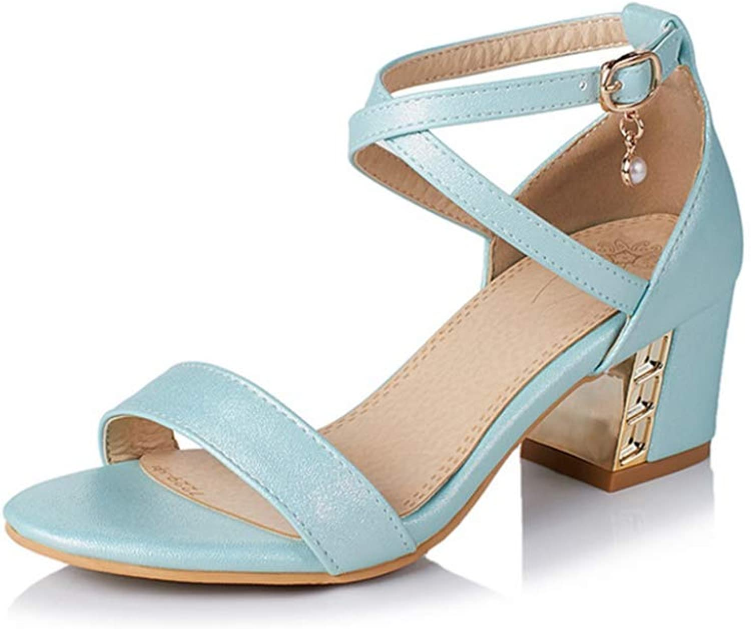 T-JULY Sandal for Women Open Toe Square Med Heels Lace-Up with Buckle Summer Fashion Breathable Solid color Party Ladies Cover Heel shoes