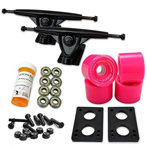 Yocaher Longboard Skateboard Trucks Combo Set w/ 71mm Wheels + 9.675' Polished/Black Trucks Package, Gel Blue Wheel, Black Trucks