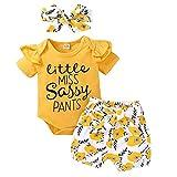 Iwemek - Conjunto de ropa para bebé y niña, de manga larga y corta + pantalón estampado floral + diadema Jaune 01 12-18 Meses