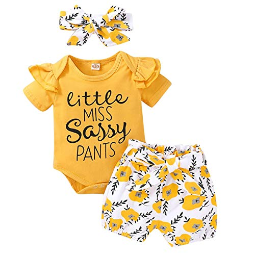 IWEMEK Ropa para bebé niña, ropa de verano, de manga corta, con volantes, body + pantalones cortos con estampado de girasol, con cinta para la cabeza, 3 piezas, para 0-18 meses amarillo 0-3 Meses