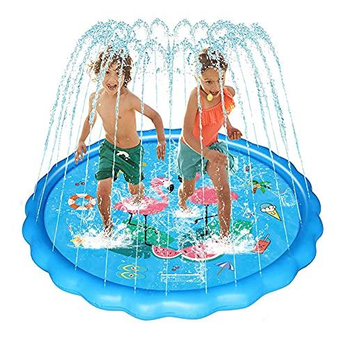 HUA JIE Hinchable Splash Pad Aspersor de Juegos de Agua, 170CM Almohadilla de Juego de Agua Antideslizante, Aspersor de Juego Salpica de Jueg Agua para Niños Juegos Aire Libre