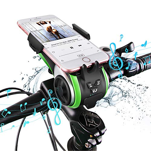 UPPEL Bike Phone Holder Speaker 10-in-1 Portable Wireless Bike Bluetooth Speaker+Bike Light+ 4000mAh Power Bank+Bicycle Bell+ Bike Phone Mount Hands Free Calling Waterproof Outdoor Speakers Support TF Card
