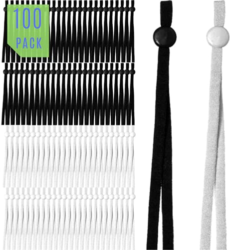 Elastic Cords for Facemasks - Soft Material with Adjustable Rubber Stopper for Extra Comfort -100 Stretchy Strings - 50 Black 50 White Combo Pack. Perfect Fit Ear Savers for Men Women and Children.