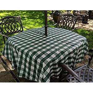 Green White Check Vinyl Tablecloth with Umbrella Hole and Zipper - 70 Round by CHF