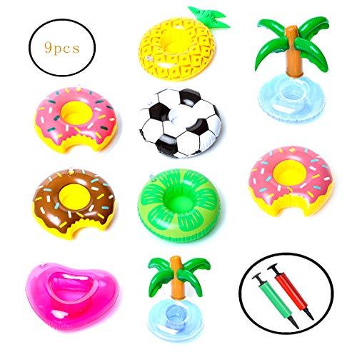 Allein 9 portabibite, portabibite, portabicchieri gonfiabili, per piscina, giocattoli da bagno, sottobicchieri, bevande, succo di frutta, 2 mini pompa ad aria