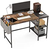 Computer Desk, 47 Inch Home Office Small Desk, Study Writing Table with Metal Storage Shelves and Storage Bag, 2-Tier Industrial Morden Laptop Table with Splice Board,47 inches(Vintage Oak Finish)
