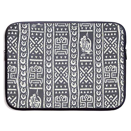 Laptop Case Black and White Mud Cloth Laptop Sleeve Protective Case Water-Resistant Neoprene Briefcase 15 Inch