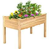 """Giantex Raised Garden Bed Kit Elevated Planter Box for Vegetables Fruits Herb Grow, Heavy Duty Natural Cedar Wood Frame Gardening Planting Bed for Deck Patio Yard, 49.5""""X25""""X30.0"""""""