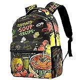 zaini da viaggio per il tempo libero campus, zuppa di pomodoro ricetta menu lavagna design borse con portabottiglie per ragazze e ragazzi