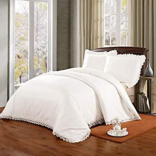 Simple&Opulence500 Thread Count100% Cotton Bedding Set Shabby Chic Lace Border Duvet Cover Set (Queen, Cream)