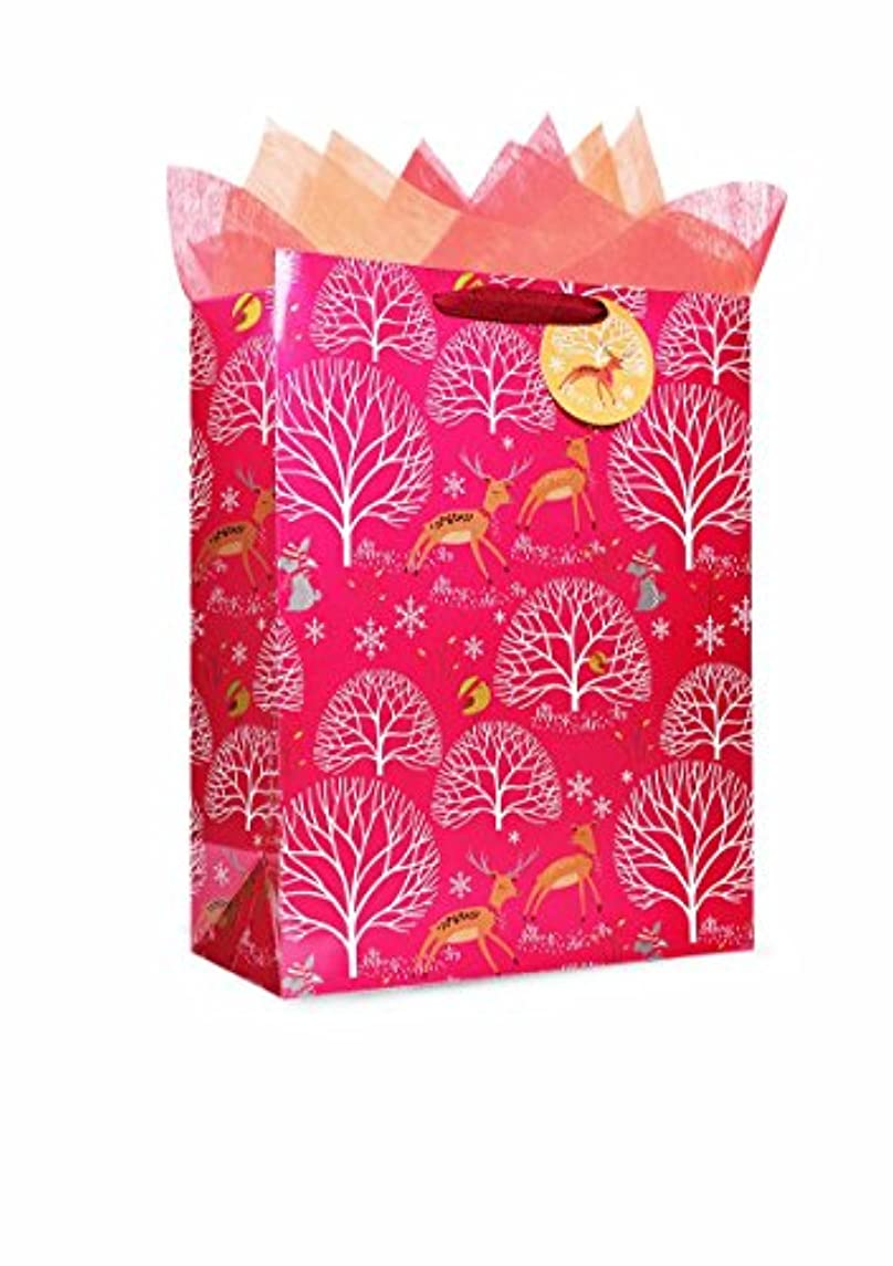 The Wrap It Metallic Premium Party Favor Paper Gift Bag with Handle, Design for Party, Valentine's Day, Birthday, Wedding, Christmas, X-Large, Christmas Deer Red, Set of 6 (Vertical)