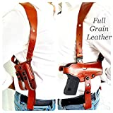Aysesa Rig for Glock 19 Leather Shoulder Holster fits Many Glock Pistols: Glock 17 / 19 / 23 / 26 / 32 Right Handed/Mag Pouches and Tie Down Straps Included Full Set (Tan Brown)