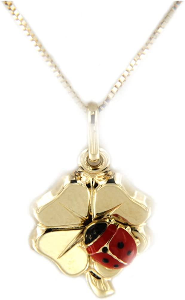Lucchetta collana per donna con ciondolo porta-fortuna in oro giallo 14 ct  a forma di quadrifoglio con coccin 4P4804M