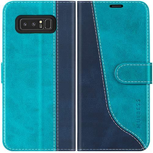 Mulbess Handyhülle für Samsung Galaxy Note 8 Hülle Leder, Samsung Galaxy Note 8 Handy Hüllen, Modisch Flip Handytasche Schutzhülle für Samsung Galaxy Note 8, Mint Blau