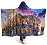 remmber me Colosseum Rom Italien Nachtlandschaft Fleecedecke Superweiche Kapuze Sherpa Decke Nicht Verschütten Plüsch Werfen Warme Couch Decke für Outdoor Indoor Camping 59x15,8 Zoll