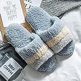 Zapatillas Casa Hombre Mujer Invierno Mujeres Hombres Zapatillas Invierno Hogar Moda Antideslizante Suave Cálido Lindo Interior Dormitorio Casa Parejas Piso Zapatos-Blue_44