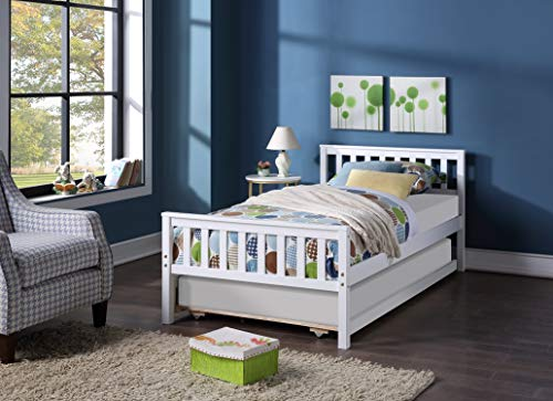 Wood Twin Platform Bed with Trundle-Wooden Daybed and Trundle Frame Set,Premium Solid Wood Slat Support,Easy Assembly for Kid Room,Living Room,Guest Room (White)