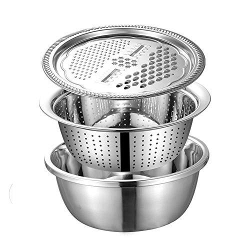 FUHUY 3PCS Set Stainless Steel Mixing Bowl with Lid Colander Salad Bowl Non Slip No Stick Kitchen Cooking Salad Mixing Bowls Set Washing Drain Basket Soup Basin Strainer