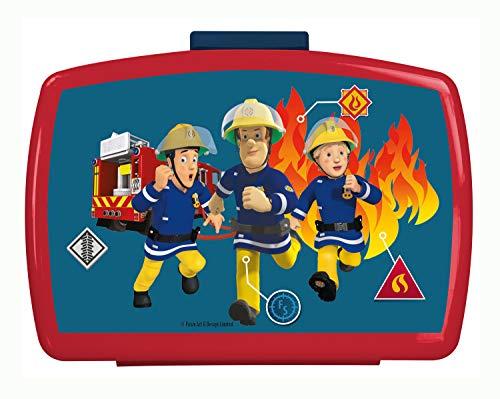 POS 26361088 - Brotdose Premium mit Einsatz, mit Feuerwehrmann Sam Motiv, ca. 16 x 12 x 6,5 cm, aus Kunststoff, bpa- und phthalatfrei, ideal für das Pausenbrot, für Jungen und Mädchen
