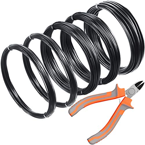 5 Rolls Bonsai Wire 160 Feet Tree Training Wires Plant Training Wire 1/1.5/2.0 mm Aluminum Wire with Bonsai Wire Cutter for Bonsai Branches Small Trunks Holding Growing Tools