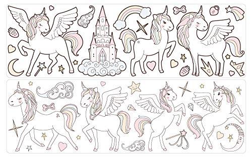 dekodino® Pegatina de pared pastel mundo de los cuentos de hadas de unicornio