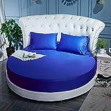 HPPSLT Protector de colchón, con Aloe Vera, (Todas Las Medidas) Cama Redonda Hotel Puro algodón-Azul Royal_2,2m + 2 Fundas de Almohada