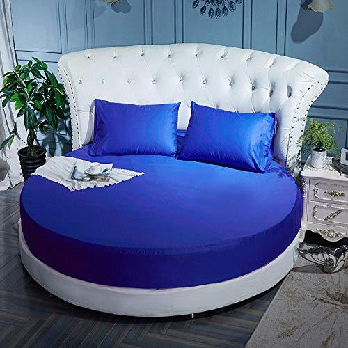 HPPSLT Protector de colchón Acolchado - Microfibra - Transpirable Colchón de Cama Redondo de una Sola Pieza Completo Redondo-Azul Zafiro_2.2m + un par de Fundas de Almohada