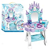 PLUSPOINT Pretend Play Kids Vanity Table Beauty Mirror and Accessories Play Set with Fashion & Makeup Accessories for Girls (Beauty Blue)