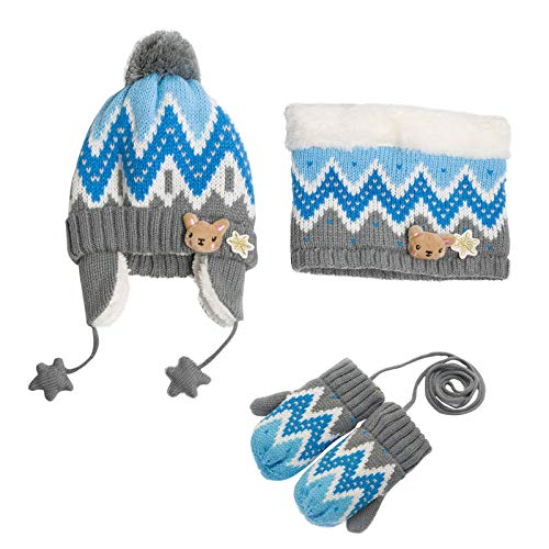 Zulaniu Kids Caps Scarf Glove Set Autumn Winter Newborn Baby Hat and Scarf Mittens 3 Pieces Set (Blue, 3-7Years)