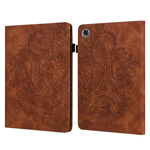 C/N DodoBuy - Funda para tablet Lenovo Tab M8 de 8 pulgadas HD HD, diseño de flor de pavo real en relieve con tapa magnética, función atril, ranuras para tarjetas, color marrón