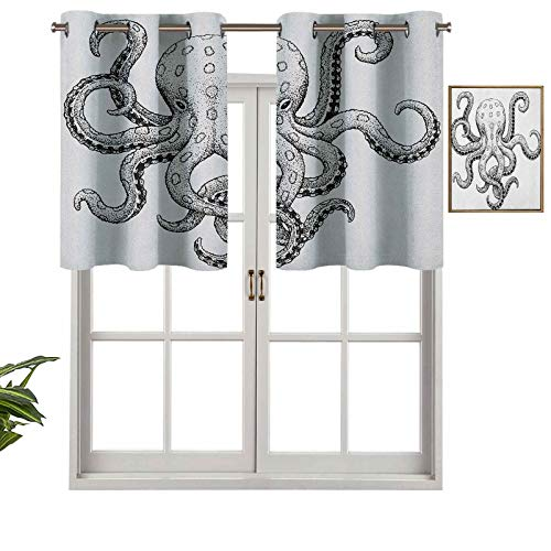 Hiiiman Indoor Home Valance Curtain Panel Classic Drawn Ink Illustration Wild Marine Animal with Swirling Tentacles, Set of 2, 42'x24' for Bathroom and Cafe