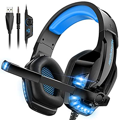 CLEVO Gaming Headset, PC PS4 Headphone with Microphone Stereo Sound – Noise Cancelling Over-Ear Headphones with Mic 3.5mm Jack Volume Control LED Light