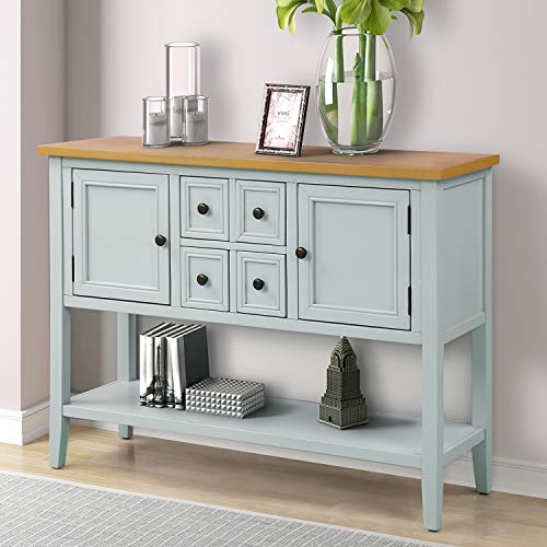 P PURLOVE Console Table Buffet Sideboard Sofa Table with Storage Drawers Cabinets and Bottom Shelf (Gray White)