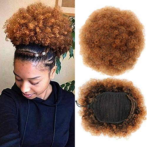 Synthetic Afro Kinky Curly Puff, Short Ponytail with Drawstrings Elastic Net Base Hairpieces High Temperature Heat Resistant Hair (Medium, T4/30)