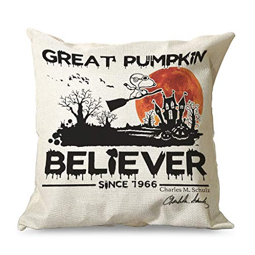 Xuanwuyi great pumpkin believer Terror Halloween Decorative Throw Pillows Covers 16x16 18x18 20x20 Inch Home Square White Modern Style white 45x45cm