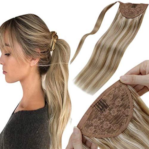 Ponytail Cheveux Naturel - Wrap Around - 40cm 80g Highlight Brun Doré Clair Mixte Blond Clair Cheveux Brésiliens Queue de Cheval Extension Naturel Real Hair Ponytail Attached with Velcro16Pouce