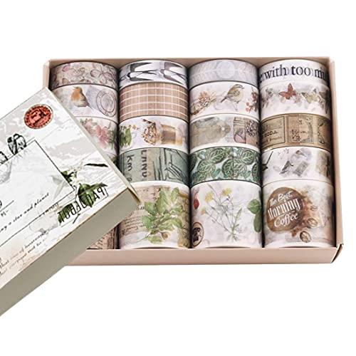 20 Rollos Decorativa Washi Tapes Set, Cintas Washi de Varios Patrones Cinta para Manualidades para áLbumes de Recortes de Bricolaje Suministros para Revistas Envoltura de Regalos