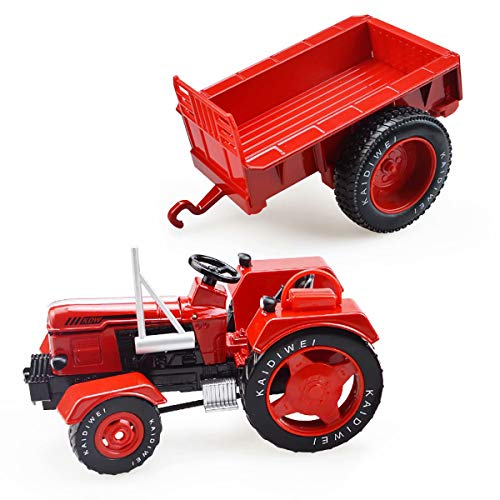 XZJT Red Retro Tractor Model Simulation Alloy Engineering Car Toy Farm Car Farmer Cultivation Transport Vehicle 015