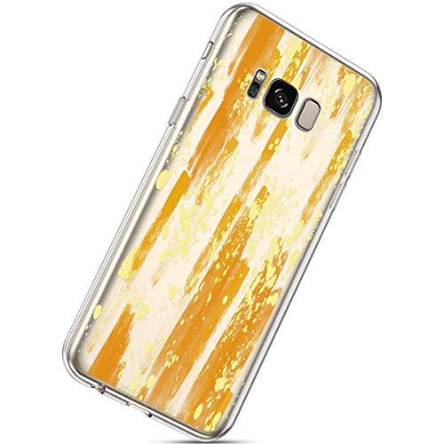 Herbests Kompatibel mit Samsung Galaxy S8 Handyhülle TPU Silikon Dünn Schutzhülle Muster Transparent Durchsichtige Crystal Clear Case Cover Anti-Kratzer Hülle Softcase Tasche,Gold Design