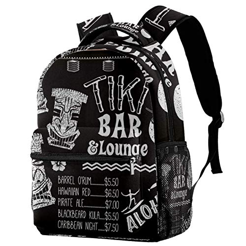 Tiki Bar and Lounge Chalkboard Cocktail Menu Illustration Backpack for Teens School Book Bags Travel Casual Daypack