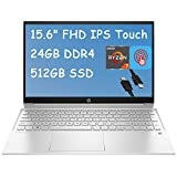 2021 Flagship HP Pavilion 15 Laptop Computer 15.6' FHD IPS Touchscreen Display AMD Octa-Core Ryzen 7 4700U (Beats i7-10510U) 24GB DDR4 512GB SSD B&O Webcam BacklitWiFi Win 10 + iCarpHDMI Cable