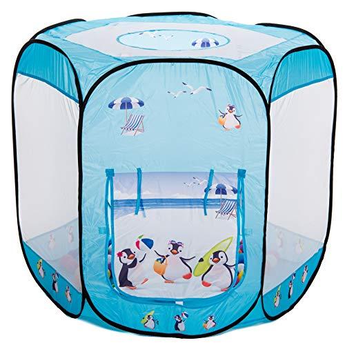 aussergewoehnlich® Sommer Pinguine Bällebad pop up Zelt mit 400 Bällen in 10 transparenten Farben
