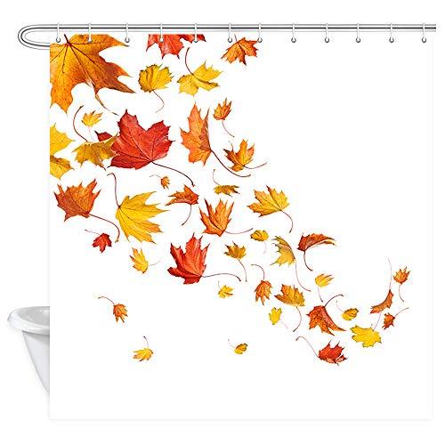 JAWO Herbst-Herbst-Duschvorhang, Blatt-Ahorn-Herbstblätter, Polyester-Stoff, Badvorhänge mit Haken, 170 x 170 cm (B x L)