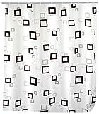 WENKO 19176100 Duschvorhang Quadro - waschbar, mit 12 Duschvorhangringen, 100 prozent Polyester, Mehrfarbig