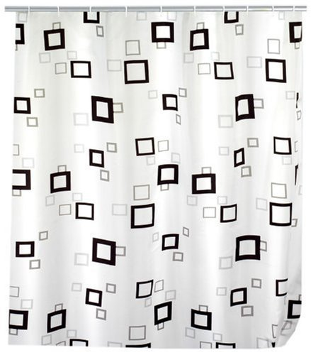 WENKO 19175100 Duschvorhang Quadro - hochwertiges Textilgewebe, 120 x 200 cm