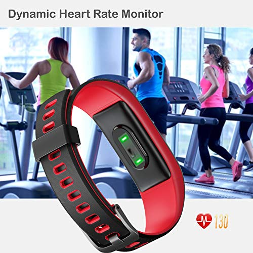YAMAY Fitness Tracker, Fitness Watch Heart Rate Monitor Activity Tracker,Color Screen Dual-Color Bands IP68 Waterproof,with Step Counter Sleep Monitor 14 Sports Tracking for Women Men (Black-Red)