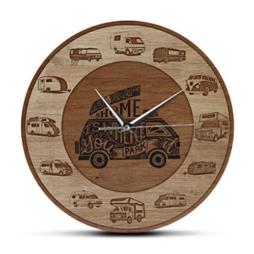 mazhant El hogar es Donde estacionas RV Vehículos recreativos Textura de Madera Impresión acrílica Reloj de Pared Camper Vans Autocaravana Viajar Arte de pared-30X30cm
