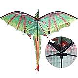 Luccase Grün Drachen Spielzeug 140 x 115 cm Kinder 3D Stoff Dragon Kite Spielzeug Spaß Freien Flugaktivität Spiel mit Spiralschwanz und 100M Drachenleine für Anfänger